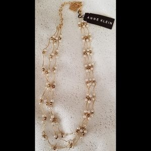 NWT Anne Klein gold & pearl multi strand necklace